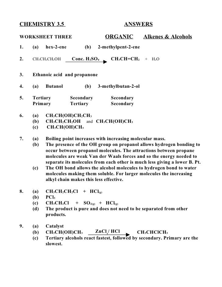 Chemistry  Answersworksheet Three Organic Alkenes  Al