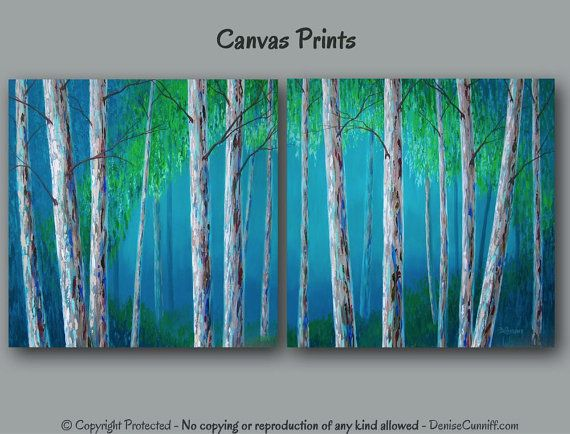 Aspen Trees Painting Canvas Wall Art Diptych Birch Tree Etsy Tree Painting Canvas Birch Tree Art Abstract Canvas Painting