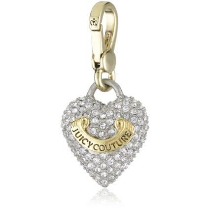 """Juicy Couture """"Charms"""" Gold-Tone Puffed Pave Heart Charm"""