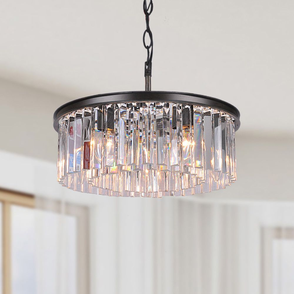 Bathroom Chandeliers Black justina 5-light antique bronze chandelier with crystal glass