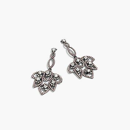 "This pair of earrings is like lace—in jewelry form. We combined tons of delicate crystals for a majorly statement-making outcome. <ul><li>Length: 3 1/2"".</li><li>Brass, glass stones, glass pearls.</li><li>Black ox plating.</li><li>14k gold-filled posts.</li><li>Import.</li></ul>"