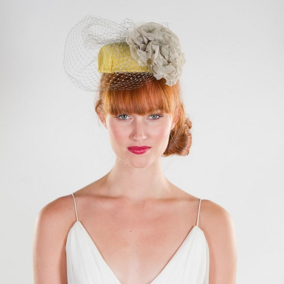 Wedding Hairstyles Fringe: Blunt Fringe Pill Box Hat And Loose Side Bun Combo