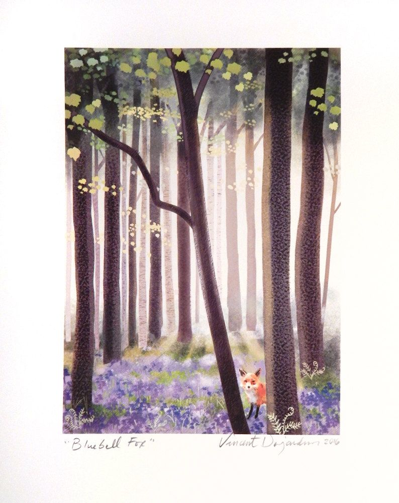 Fox in a Spring Bluebell Forest Print of Original Illustration by vpauld on Etsy