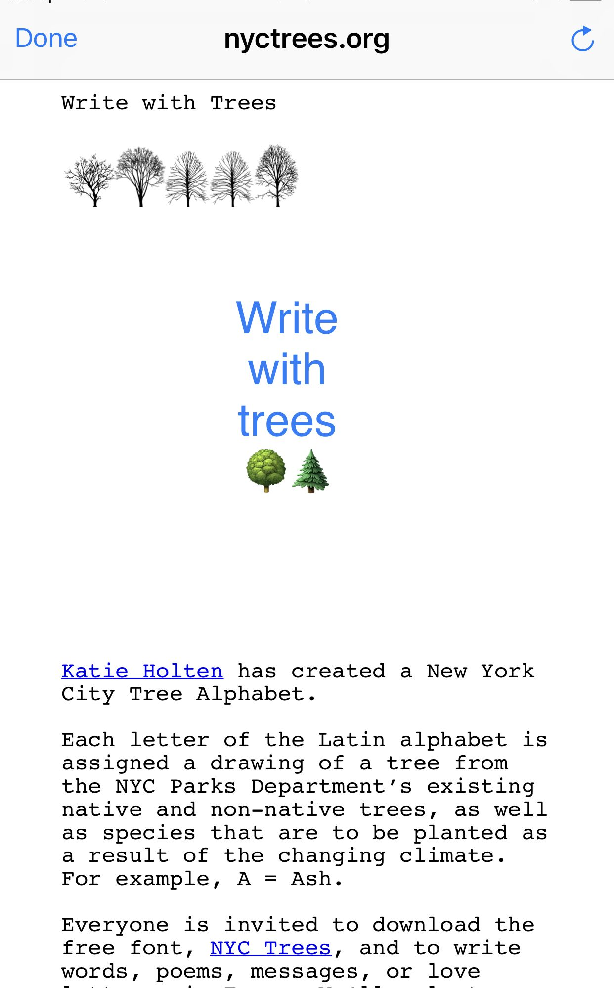 write with trees  a new font from nycparks org