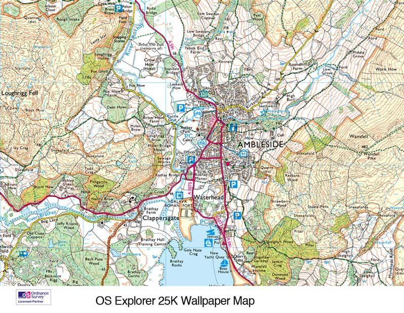 Custom Printed Ordnance Survey Wallpaper Maps Map