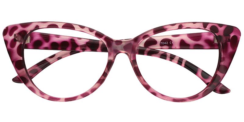 59250740c16 Prescription Eyeglasses Wanda Pink Tortoise Cat Eye Glasses Frame 0424-01