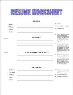 printable resume worksheet free httpjobresumesamplecom1992printable - Resume Template Printable