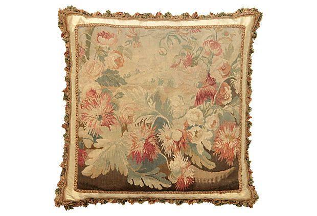 Antique French Floral Aubusson Pillow on OneKingsLane.com