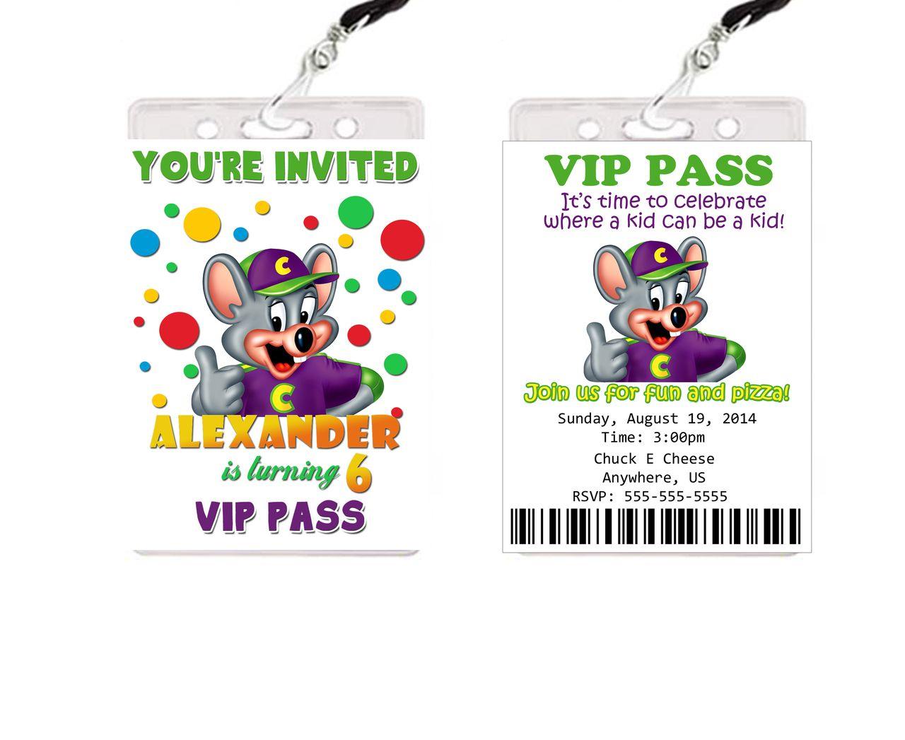 Chuck e cheese birthday vip passes invitations party favors vip chuck e cheese birthday vip passes invitations party favors partyexpressinvitations filmwisefo