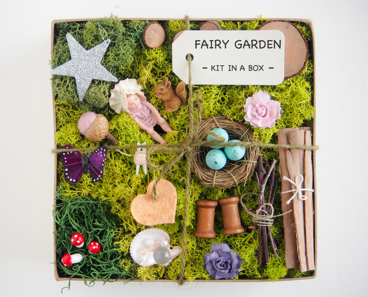 New fairy garden kits diy fairy garden fairy and gardens for Fairy garden box ideas