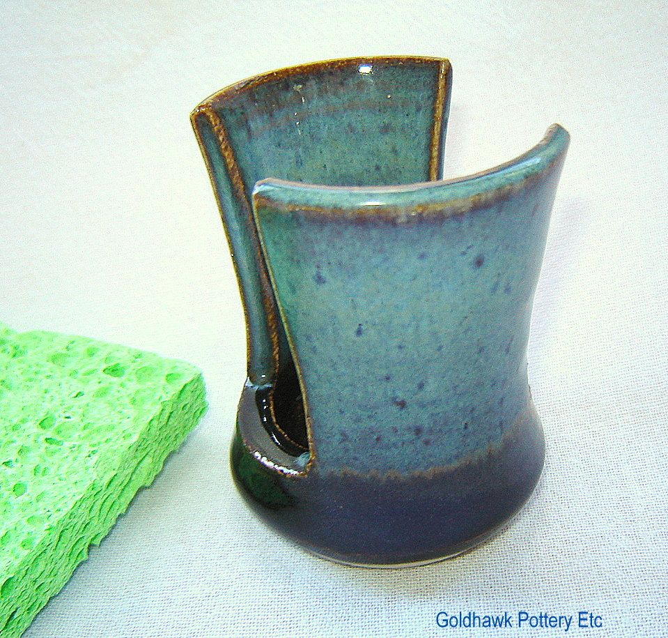 Teal Blue And Black Kitchen Sink Sponge Holder Sponge Pot In White Ceramic Stoneware Black Kitchen Sink Sponge Holder Pottery