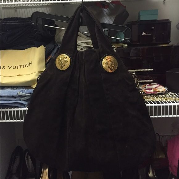 Gucci Hysteria hobo bag authentic Carried off and on for past 2 years. I did get hand sanitizer in the bottom. See pic. It's a chocolate suede leather. It's a very beautiful Gucci bag. Can also wear cross body . Putting it up for sale.  If I don't sell it I am completely ok with that too . Gucci Bags Hobos