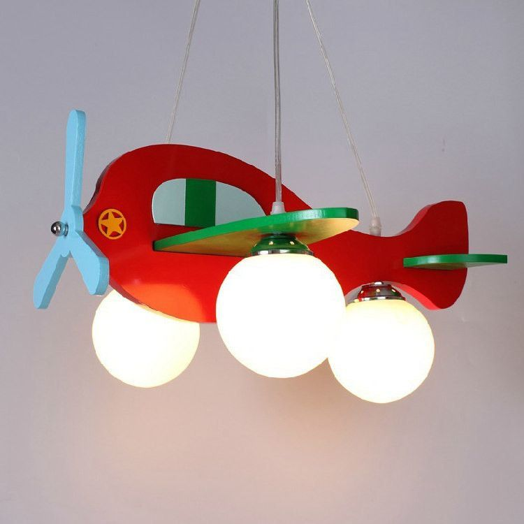 Children Model Plane Bedroom Pendant Lamps Gl Lampshade