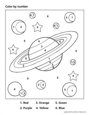 math worksheet : space color by number  crafts and worksheets for preschool  : Space Worksheets For Kindergarten