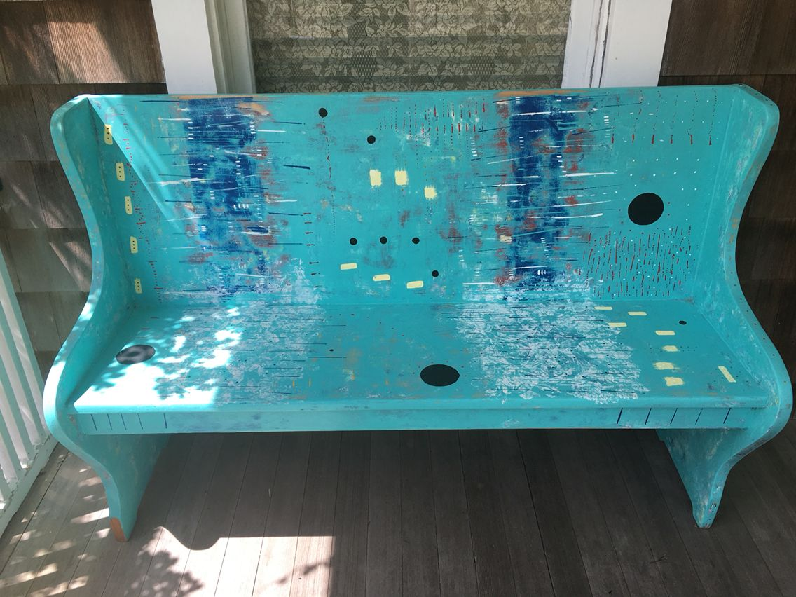 Painted church bench
