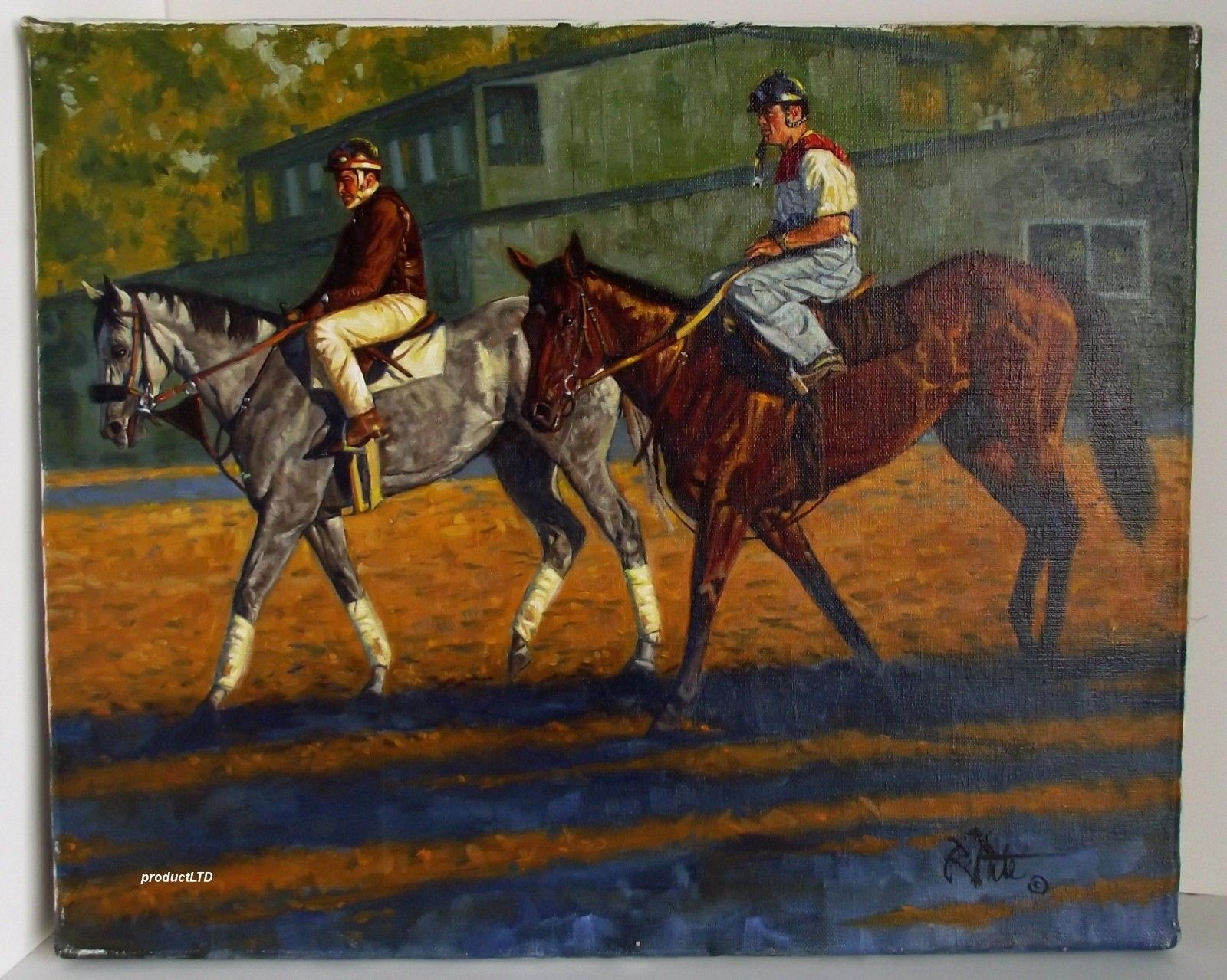 Robert Tate Early Morning Workout Oil on Canvas 16x20 Horse Racing | eBay