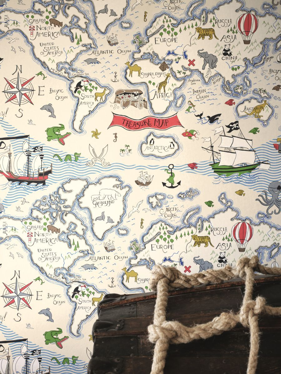 World Map Wallpaper Adelaide. Brilliant Treasure Map  wallpaper by Sanderson Wallpaper