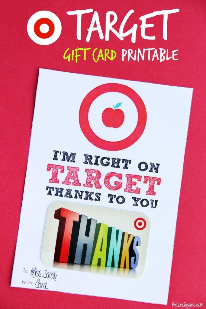 Target Gift Card Printable - Teacher Appreciation | Teacher ...