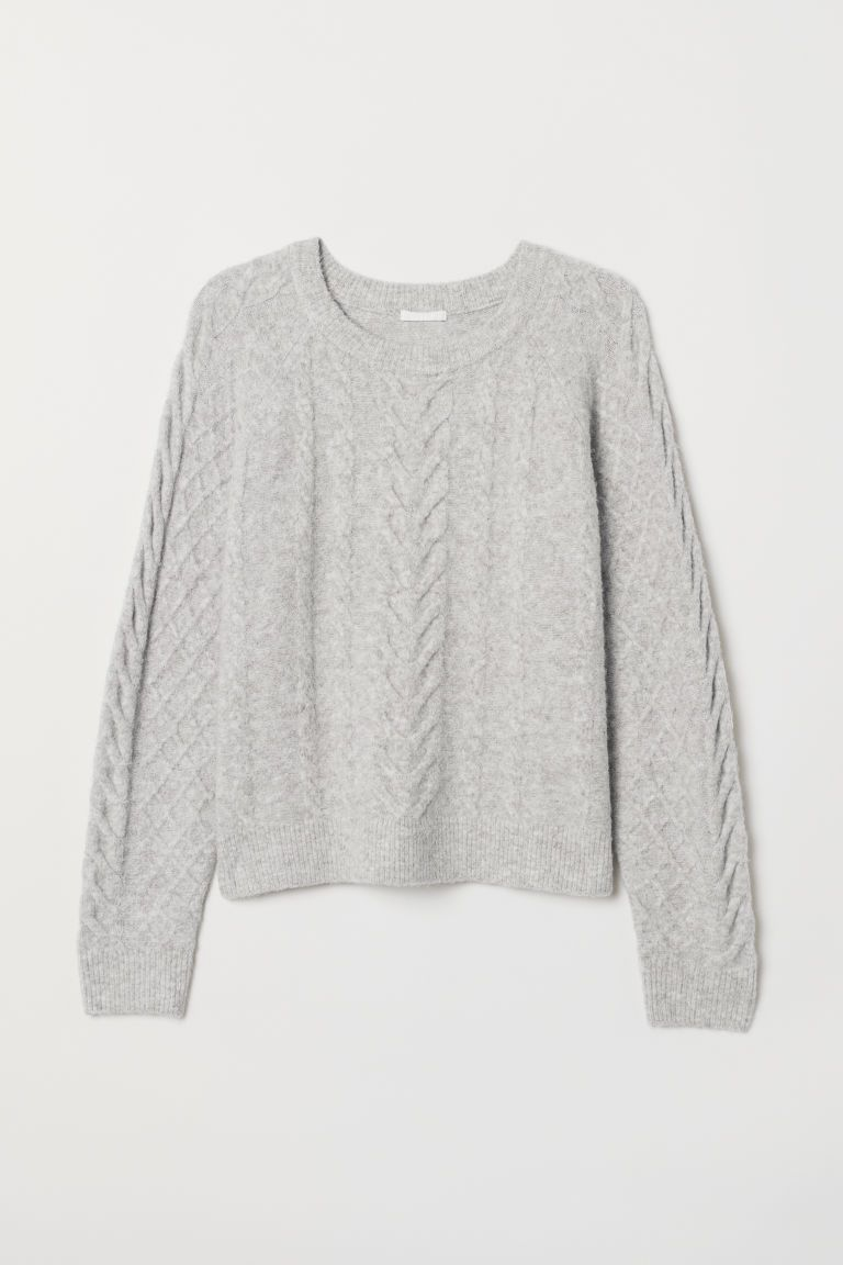 c7ea39d8 H&M Cable-knit Sweater - Gray in 2019 | Fall/Winter Trends 2018-2019 ...