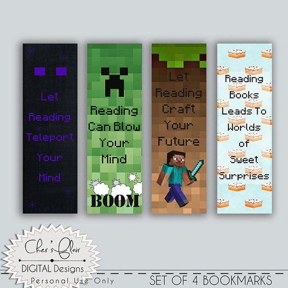 Minecraft 7 X 2 1 4 Bookmarks Printables By Digitalpackages Minecraft Birthday Party Minecraft Gifts Minecraft Birthday