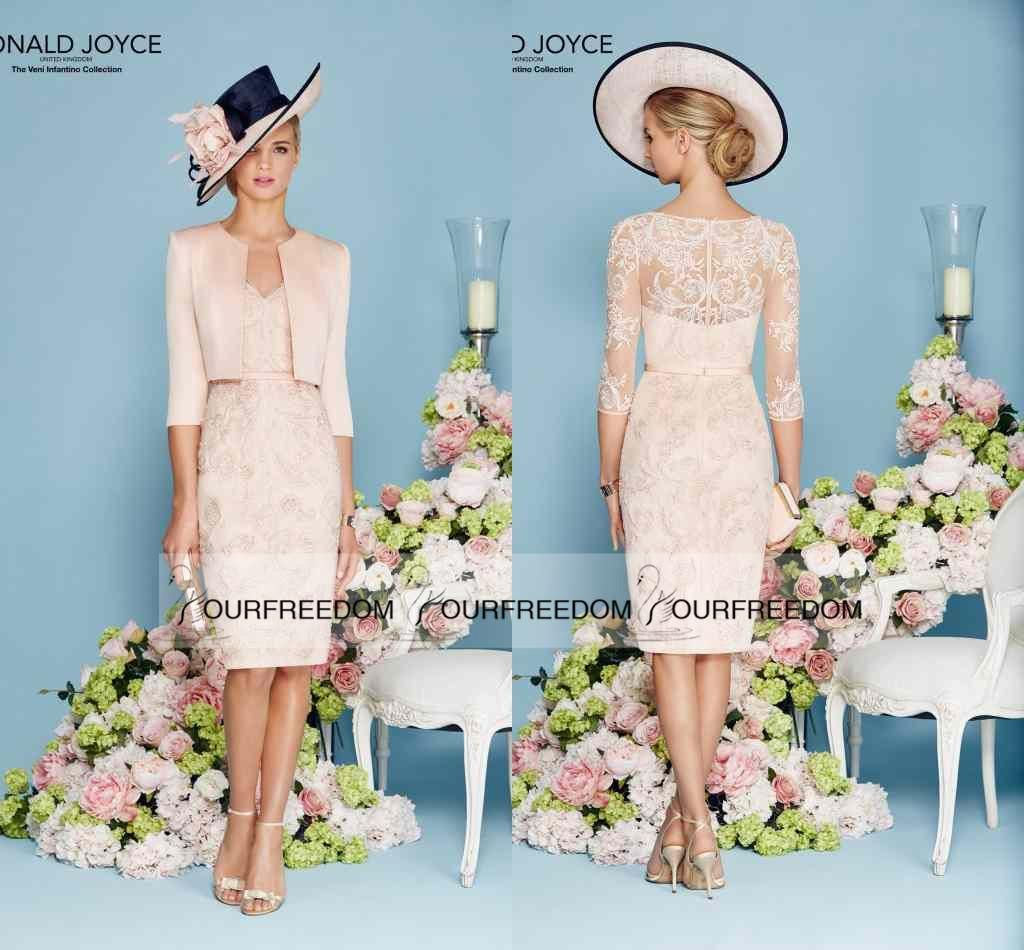 Joyce 2016 New Two Piece Knee Length Mother Of Bride Dresses V Neck ...