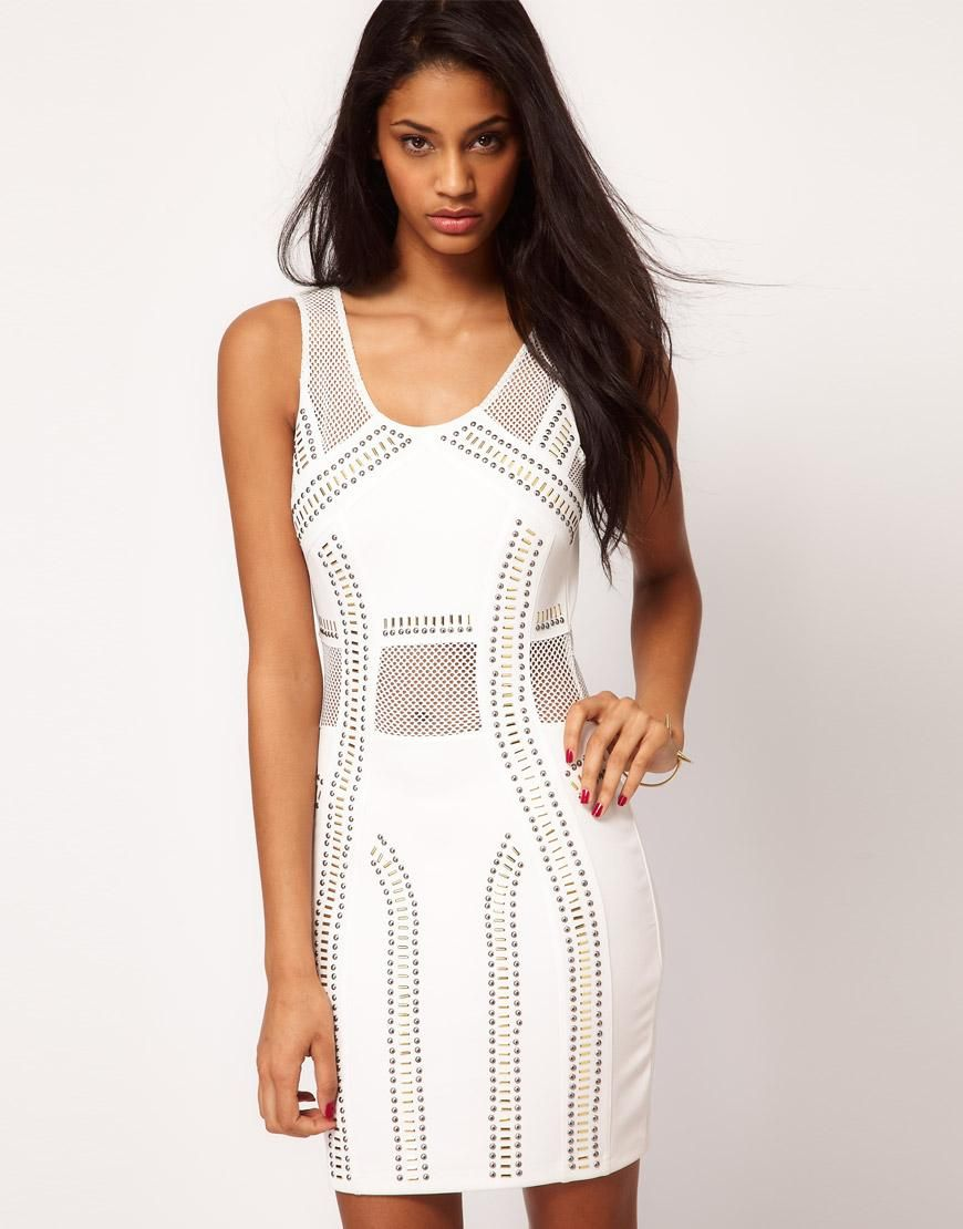 Asos Studded Mini Dress With Mesh Insert by ASOS    Sexy!