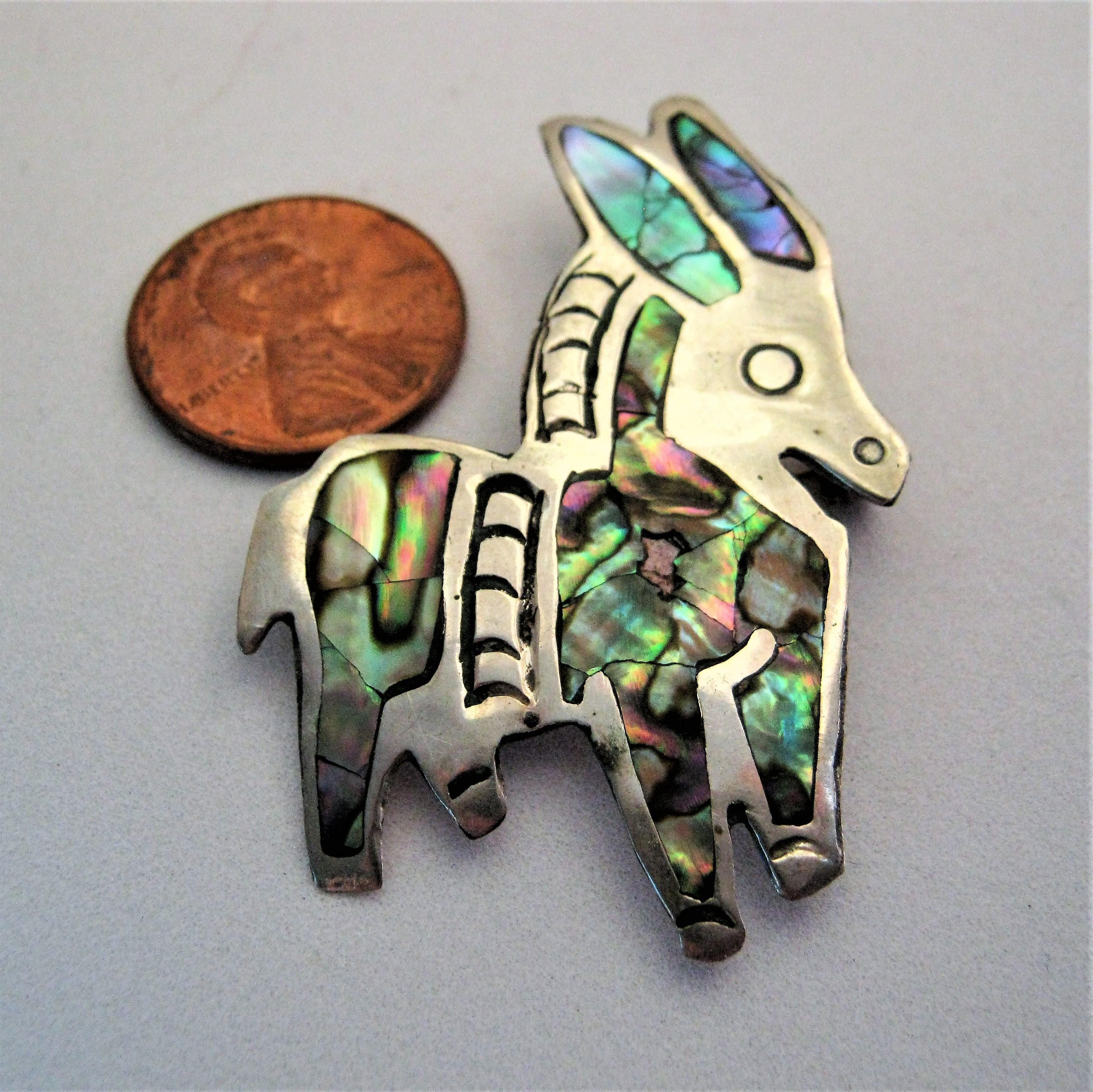 925 Sterling Silver Vintage Mexico Real Turquoise Gemstone Donkey Pin Brooch