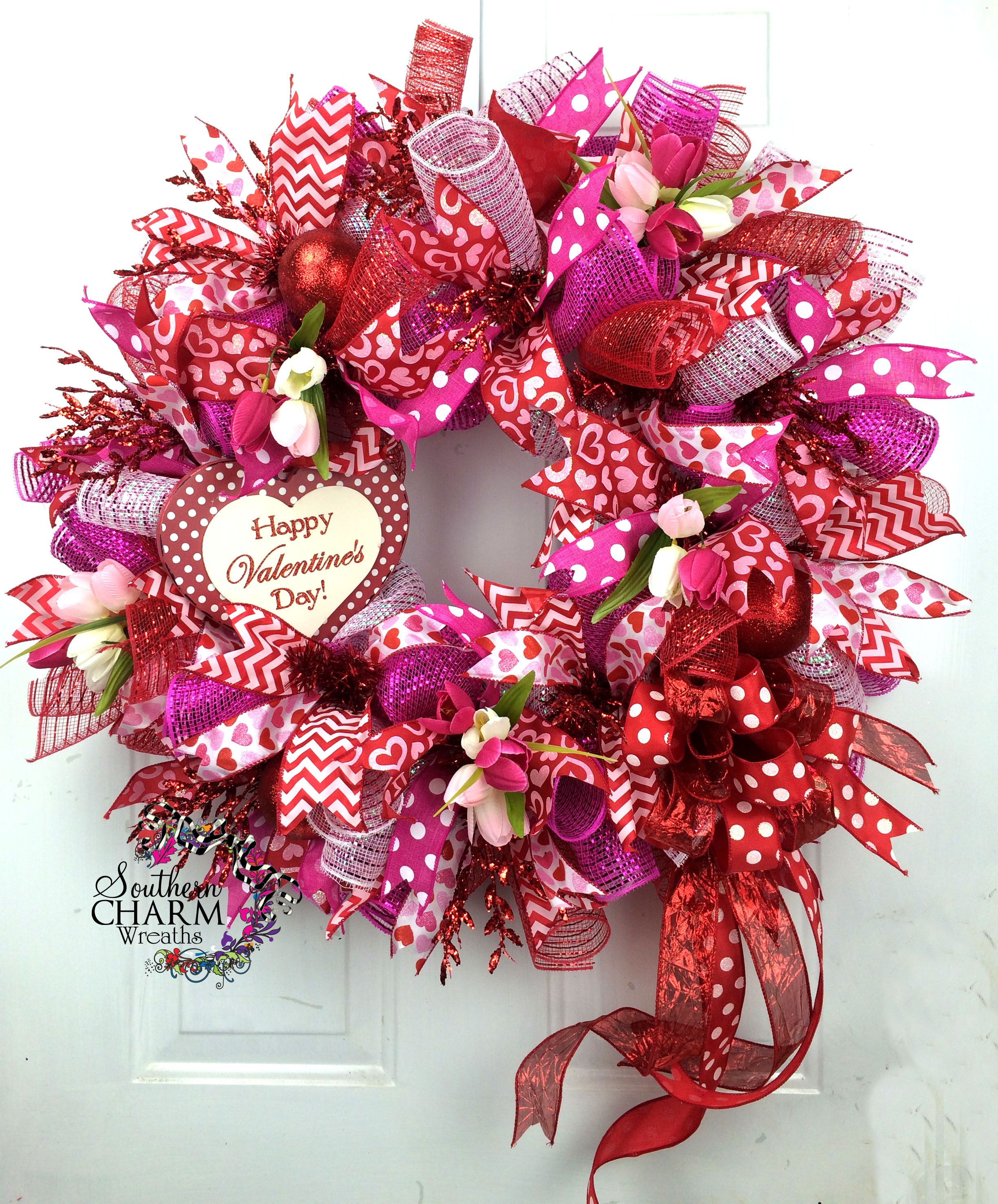 custom ordered deco mesh valentines day wreath with heart sign and tulips by www. Black Bedroom Furniture Sets. Home Design Ideas