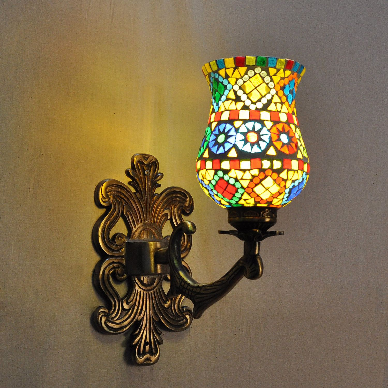 Designer Colorful Wall Lamp Sconce Mosaic Glass Wall Up Light Home