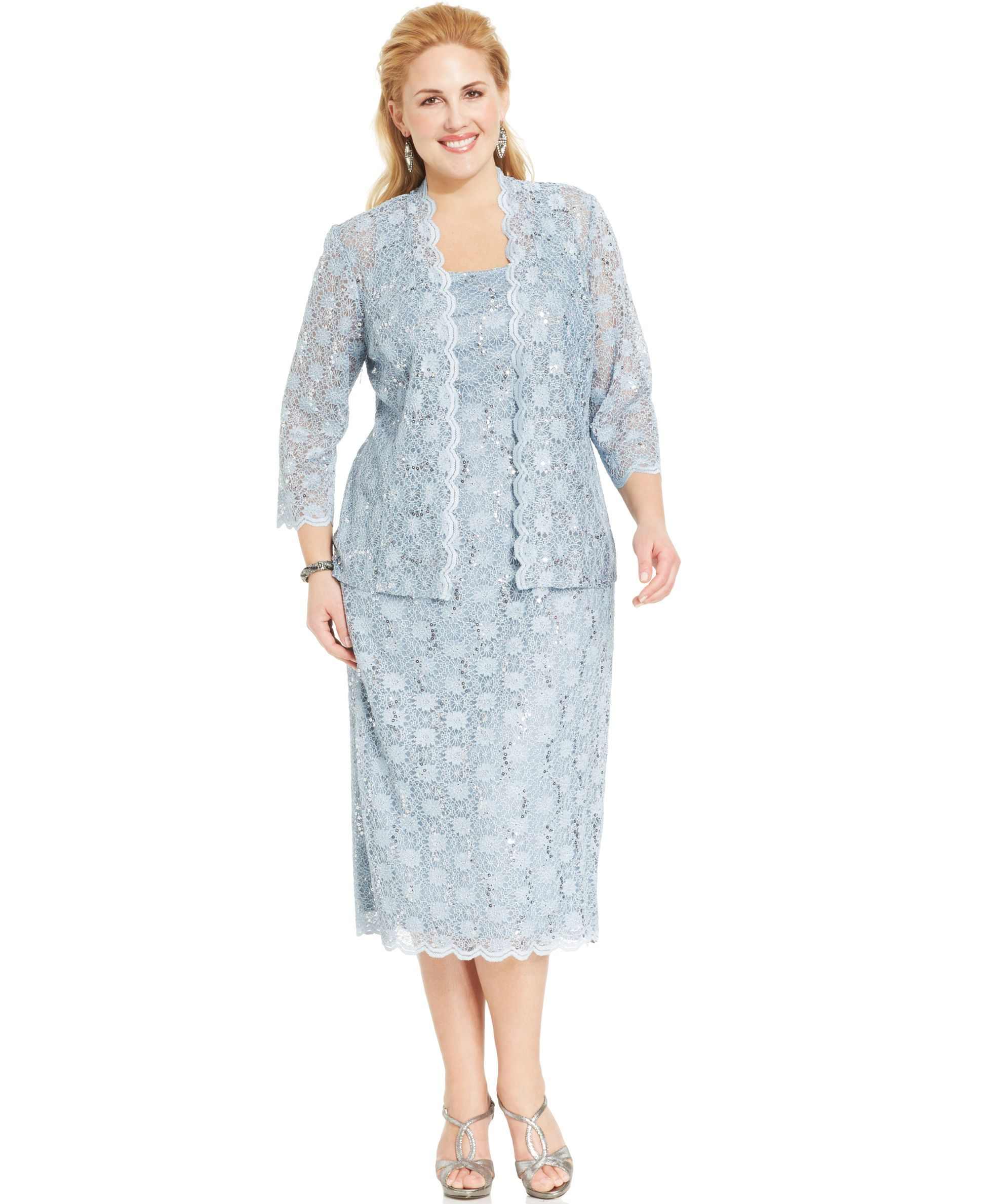 Alex Evenings Plus Size Sequin Lace Dress and Jacket | Products ...