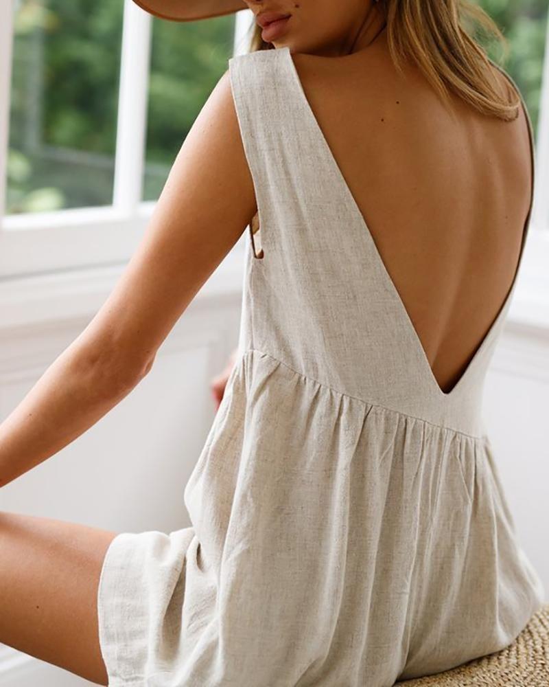 Photo of V-Neck Halter bomull og lin shorts # linendresses Beskrivelse Produkt? Navn V …