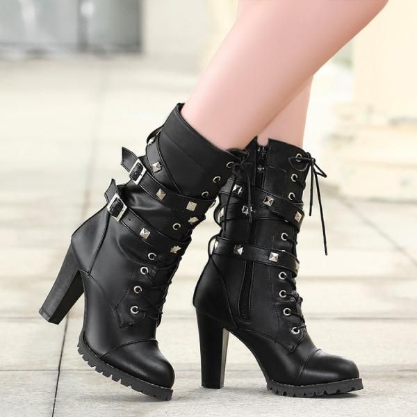 912ee85c234 Studded Chunky Heel Autumn And Winter Boots In Black And White on Luulla
