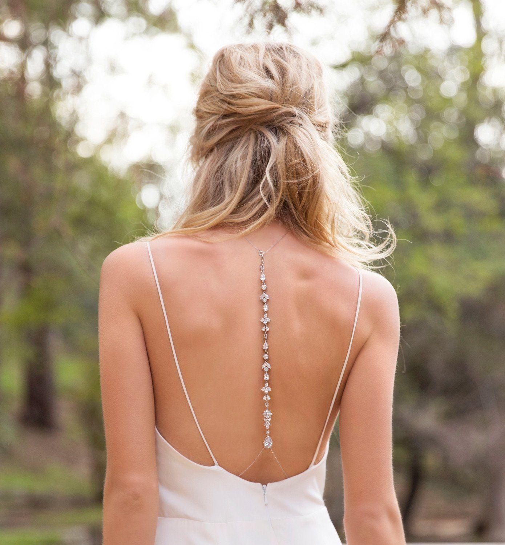 Fleur back pendant necklace in silver handmade wedding bridal