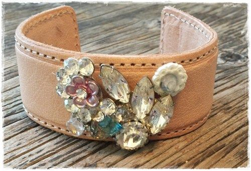 Adjustable leather cuff with vintage crystals   ANancyThing - Jewelry on ArtFire