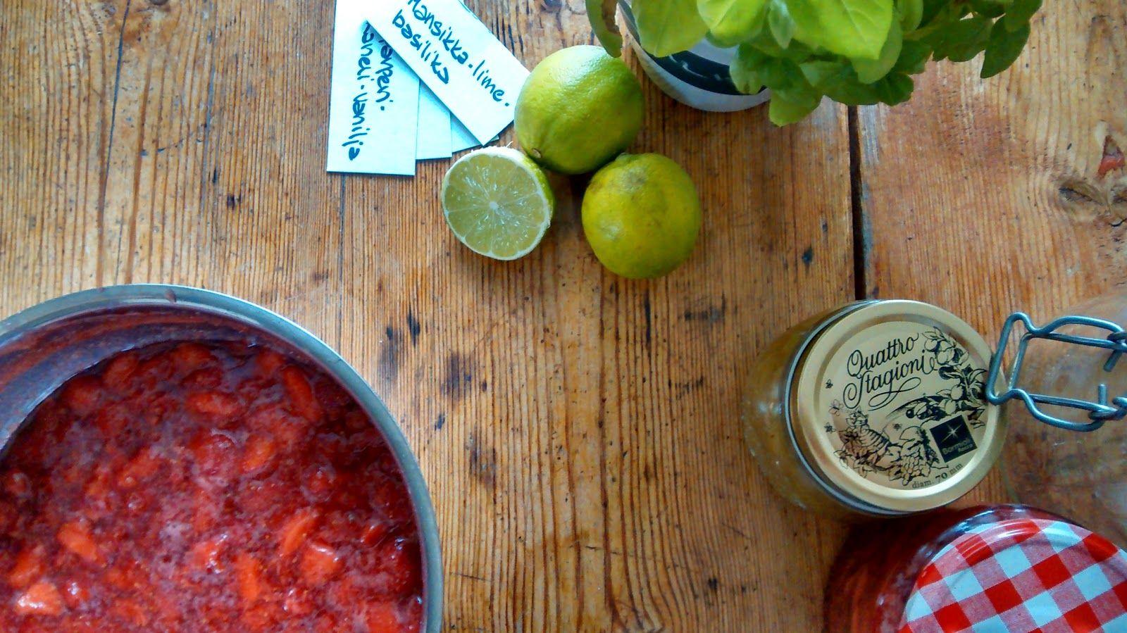 Pieni Vispiläkauppa: Mansikka-lime-basilikahillo ja raparperi-kaneli-va...