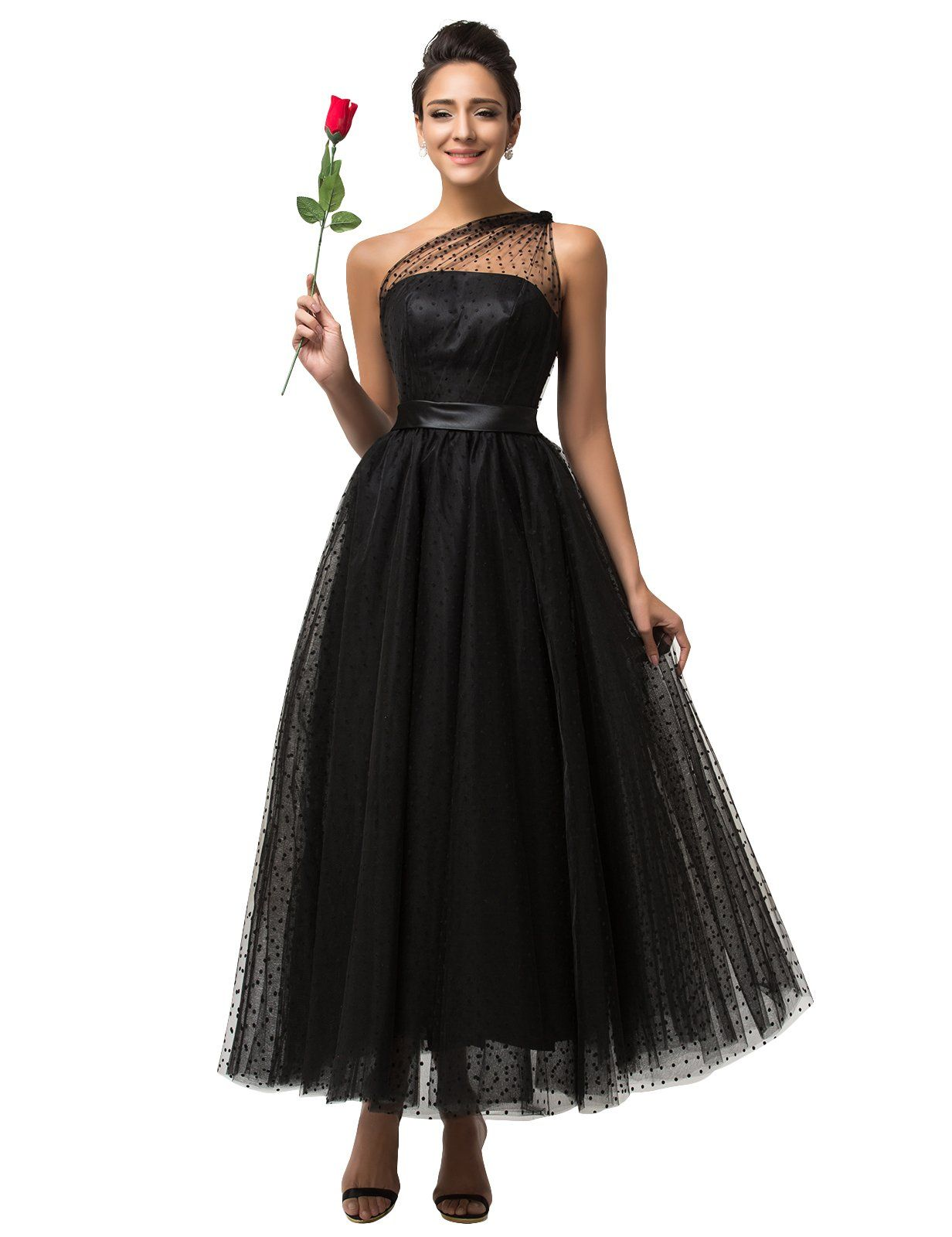 e7afdc21201 Dotted Tulle Maxi Dress - GRACE KARIN One Shoulder Black Celebrity Dresses  Formal Party Evening Prom Dress UK6-20. Amazon.co.uk  Clothing