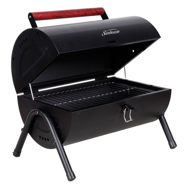 barrel shaped charcoal grill home outdoor garden yard barbecue