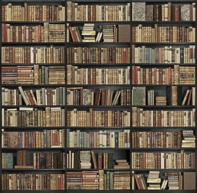 Bookshelf - Black - Brown - Wall Mural & Photo Wallpaper ...