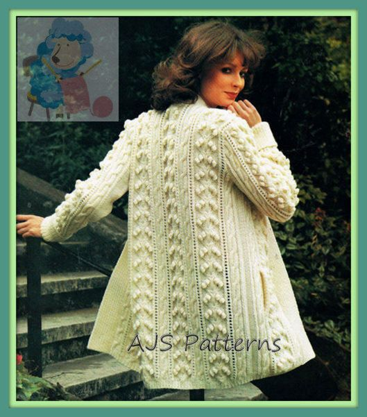 PDF Knitting Pattern for a 3/4 Length Ladies Aran Jacket in a ...