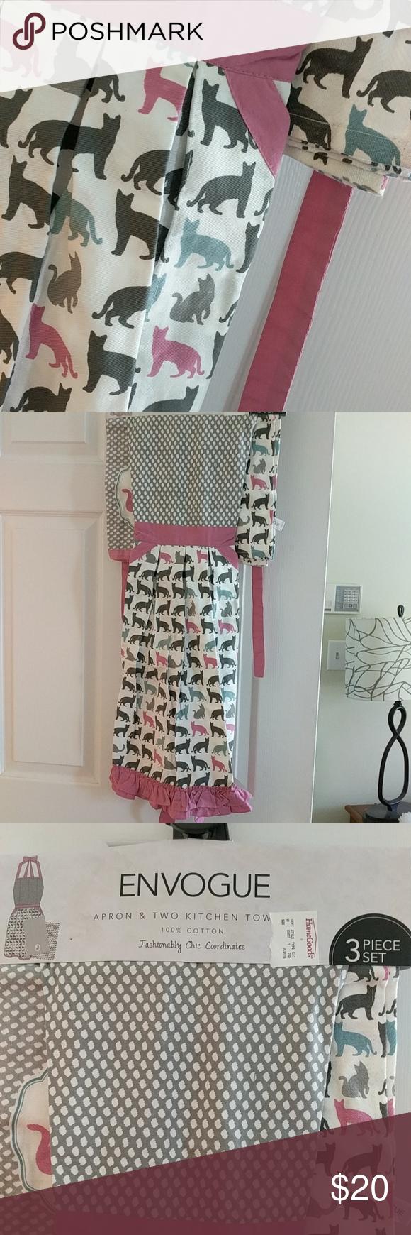 Kitty apron and kitchen towel set nwt my posh picks pinterest