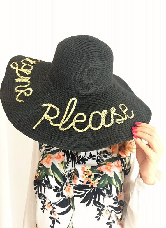5ebdf816 Champagne Please Hat | Personalized Sun Hat | Gift for Women ...