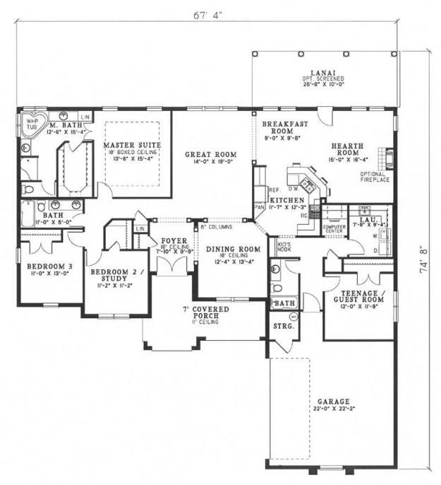 House Plan 110 00413 Florida Plan 2 501 Square Feet 4 Bedrooms 3 Bathrooms House Plans Traditional House Plans 5 Bedroom House Plans