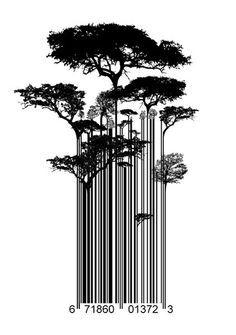Straße Kunst Banksy Stil Barcode Bäumen Limitierterkunstdruck #tattoobarcode