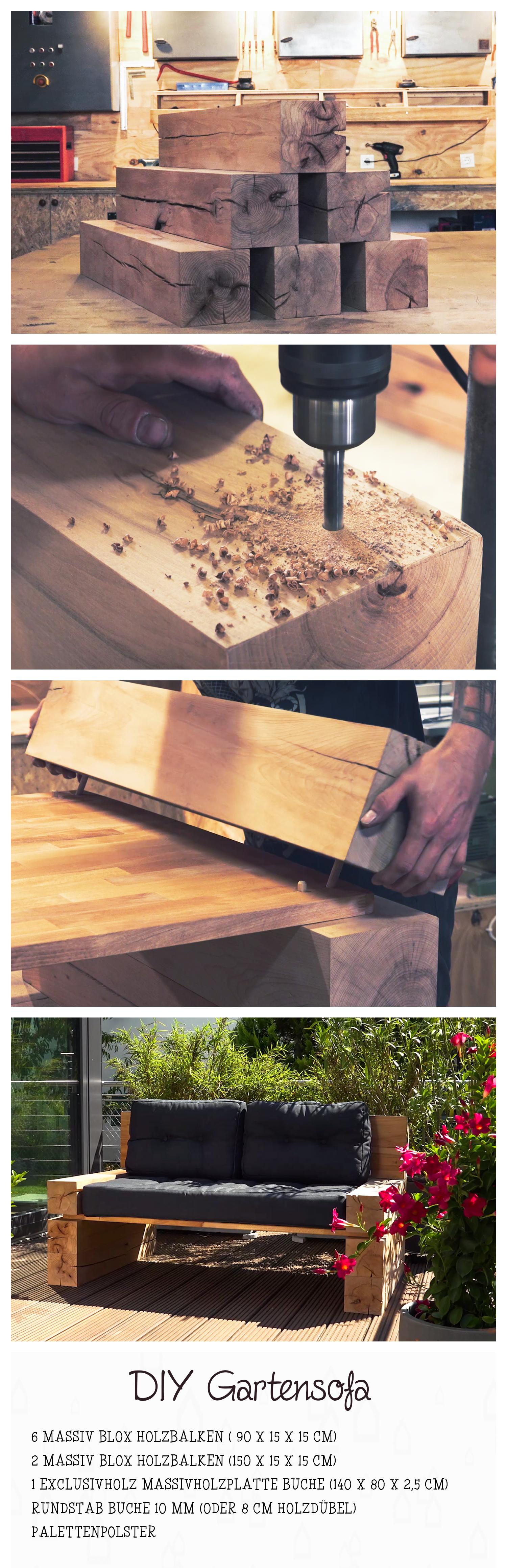 Massiv Blox Holzbalken L X B X H 90 X 15 X 15 Cm Buche Gartensofa Holzbalken Holz