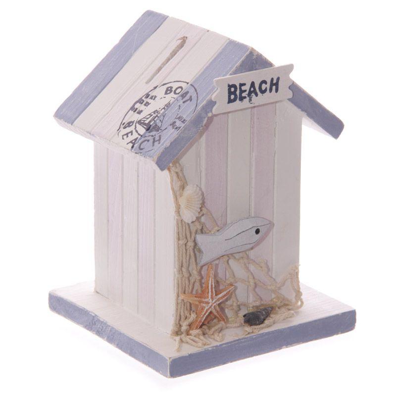 Nautisches Hölzernes Strandhäuschen Spardose mit Netz und Fisch