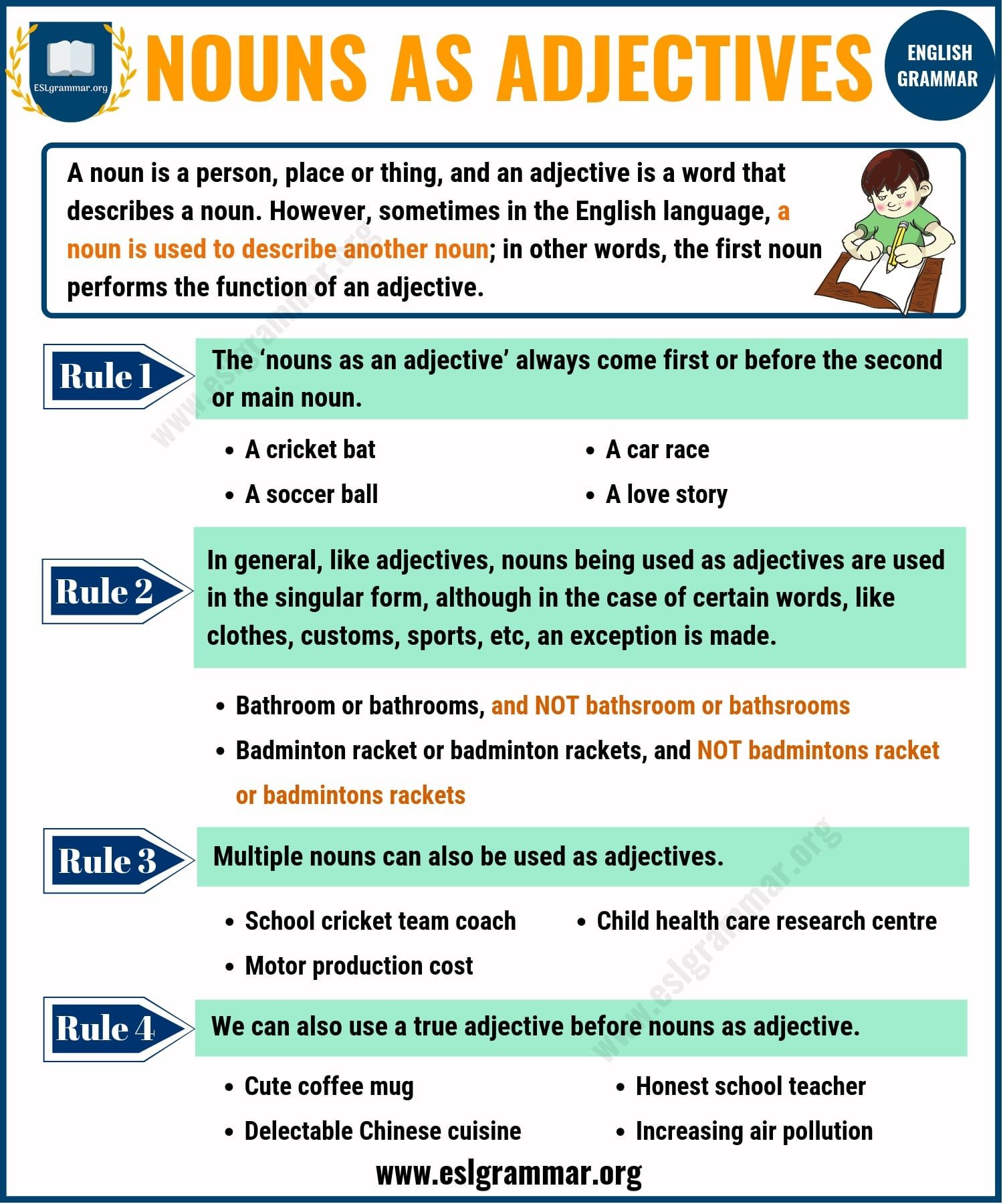 Nouns As Adjectives With Images