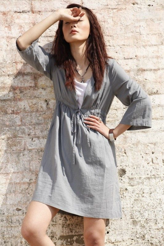 KL021D Hunter/Women Clothing Plus Size Petite Maternity Day Party Prom Casual Vintage Handmade Summer Hot Linen Cotton Light Grey Dress by KelansArtCouture on Etsy https://www.etsy.com/listing/68845340/kl021d-hunterwomen-clothing-plus-size
