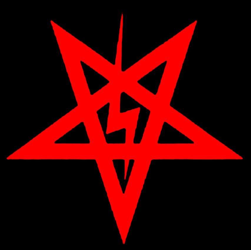Anton Laveys Lightning Bolt Satanic Pentagram Red On Black Rtc