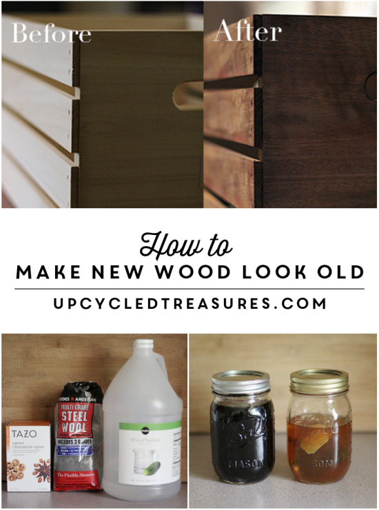 to Make New Wood Look Old PINNING this for later! See how easy it is to make new wood look old by using household items to create an a non-toxic homemade stain. PINNING this for later! See how easy it is to make new wood look old by using household items to create an a non-toxic homemade stain.