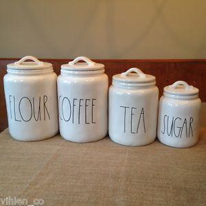 Rae Dunn Flour Coffee Tea Sugar Canister Set Of 4